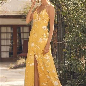 Small Lulus yellow print button-front maxi dress